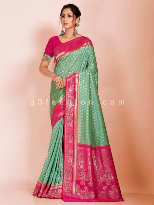 Pista Green Art Banarasi Silk Saree With Magenta Pallu