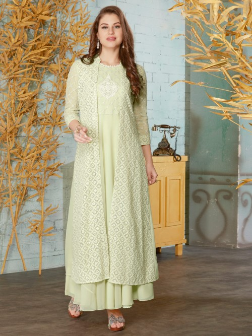Pista Green Cotton Anarkali Suit In Wedding Function