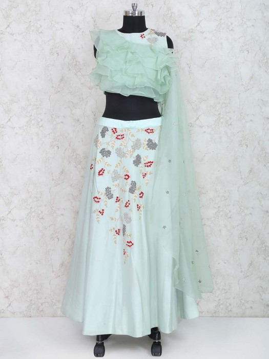 Pista Green Cotton Silk Party Wear Lehenag Choli