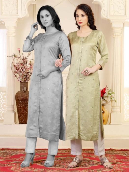 Pista Green Festive Wear Long Kurti