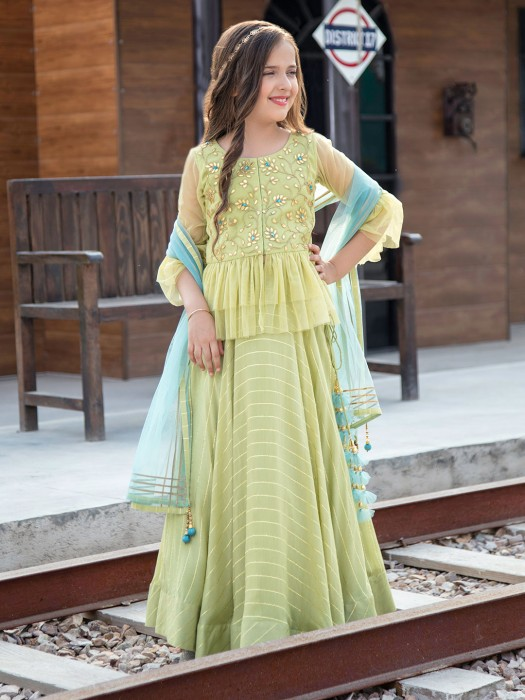 Pista Green Georgette Girls Lehenga Choli