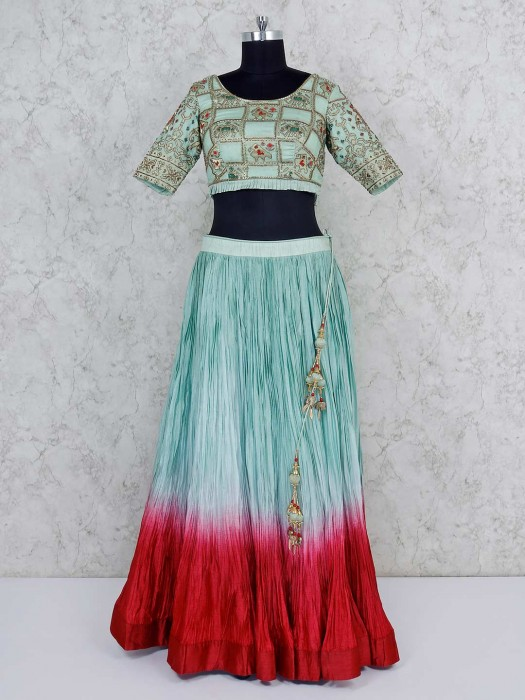 Pista Green Georgette Lehenga Choli For Party
