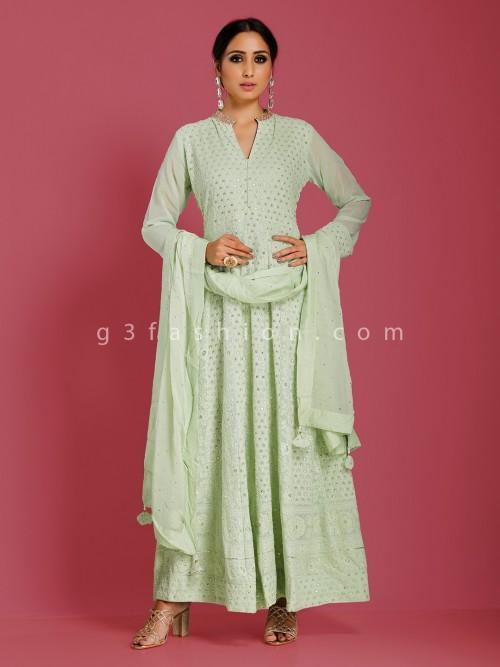 Pista Green Georgette Party Anarkali Suit