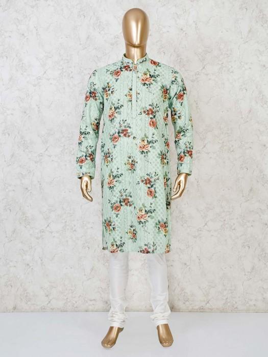 Pista Green Georgette Stand Collar Kurta Suit