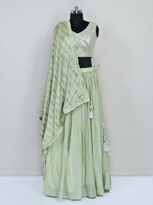 Pista Green Georgette Wedding Designer Lehenga Choli