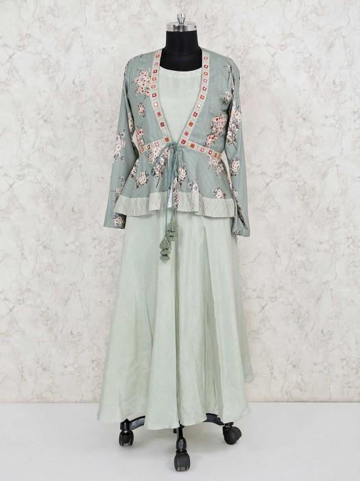 Pista Green Jacket Style Cotton Silk Salwar Suit