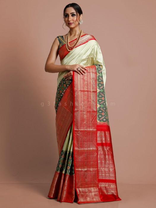Pista Green Kanjivaram Patola Silk Wedding Saree