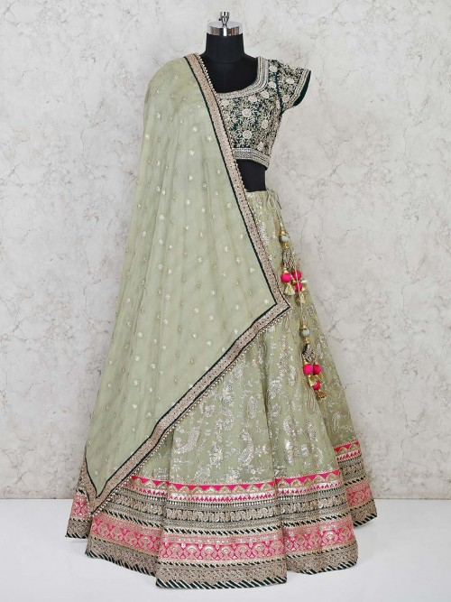 Pista Green Lehenga With The Bottle Green Blose