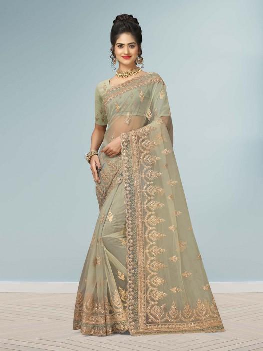 Pista Green Net Lovely Wedding Saree
