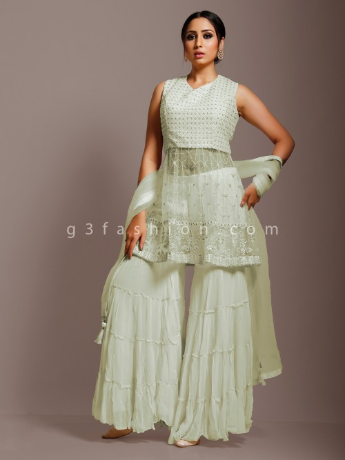 Pista Green Net Party Function Punjabi Sharara Suit
