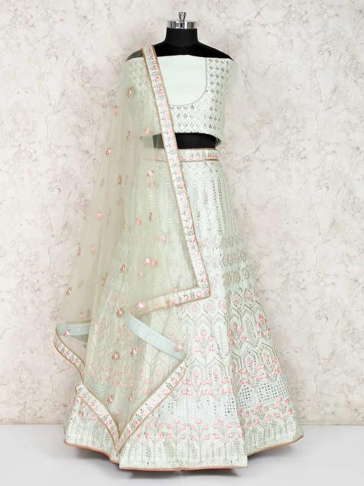 Pista Green Raw Silk Semi Stitched Lehenga Choli