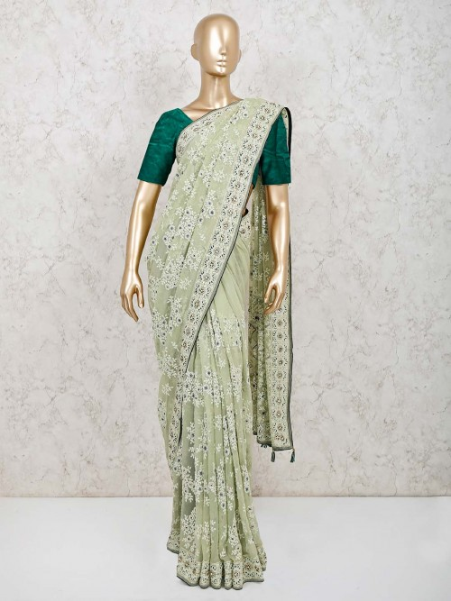 Pista Green Saree Design In Georgette