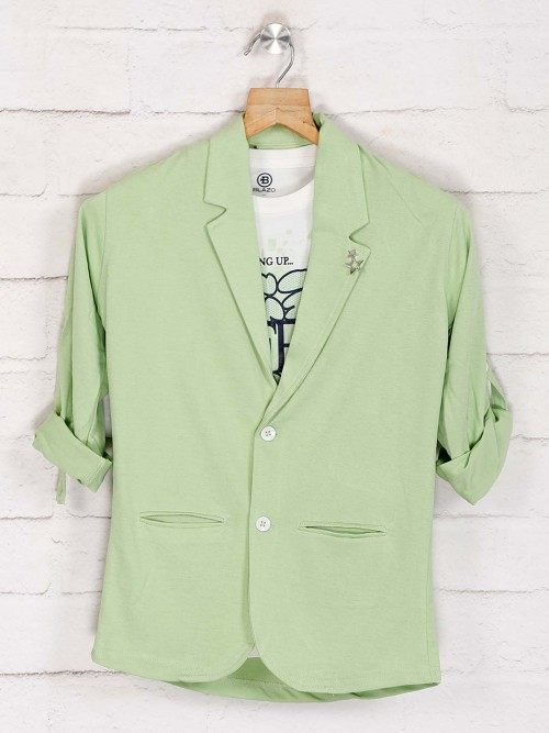 Pista Green Solid Terry Rayon Blazer