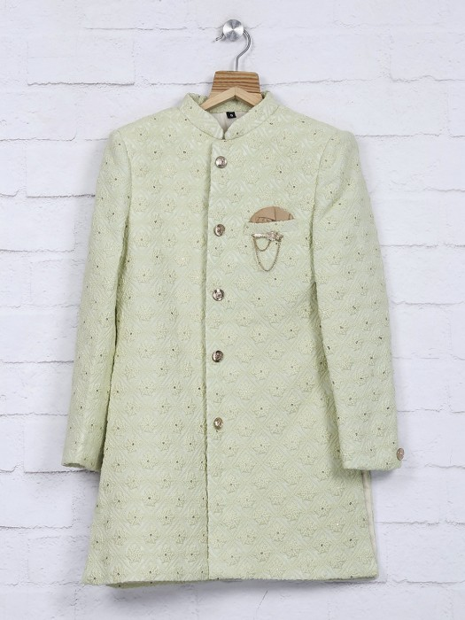Pista Green Terry Rayon Fabric Indo Western