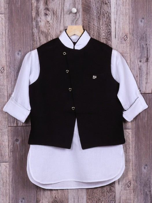 Plain Black And White Waistcoat Set