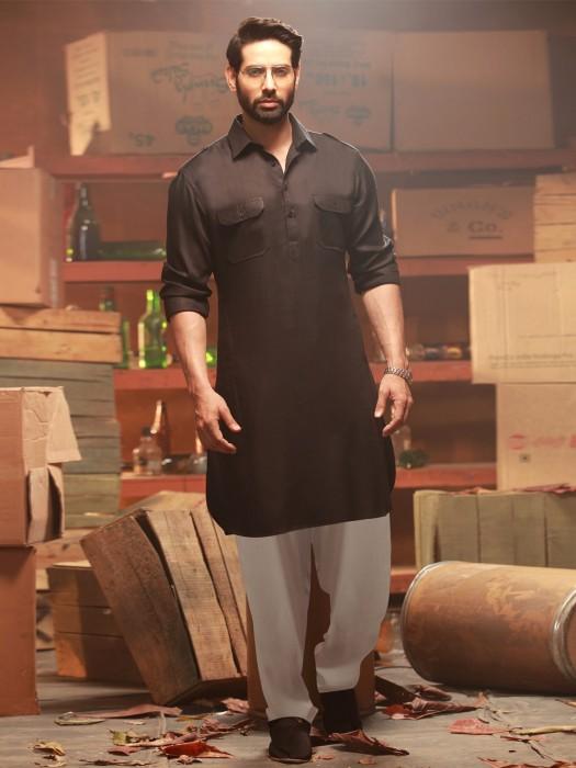 Plain Festive Wear Black Pathani Suit