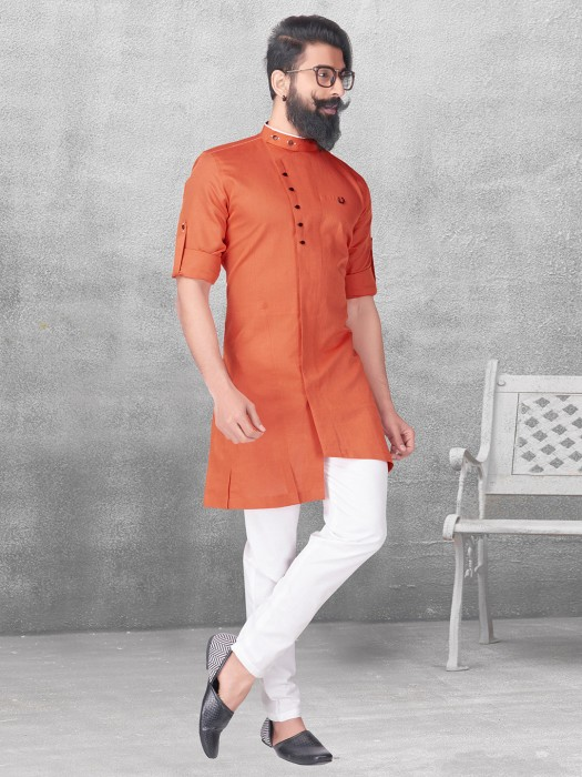 Plain Orange Silk Kurta Suit