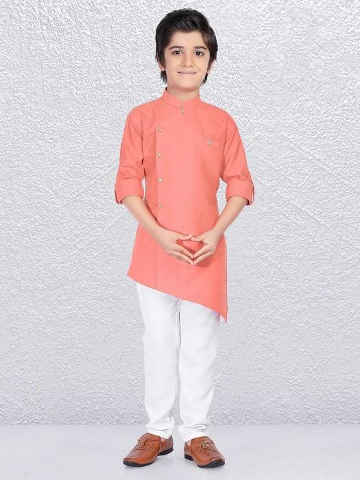 Plain Pink Boys Cotton Kurta Suit