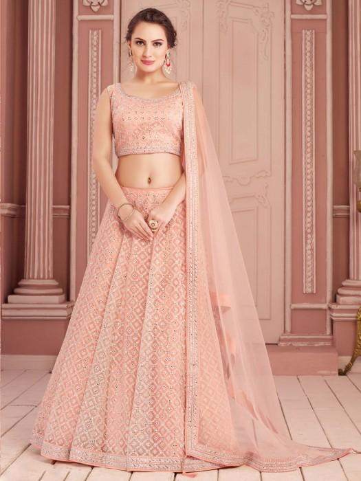 Powder Pink Lehenga Choli In Net