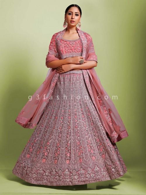 Premium Pink Designer Net Semi Stitched Lehenga Choli