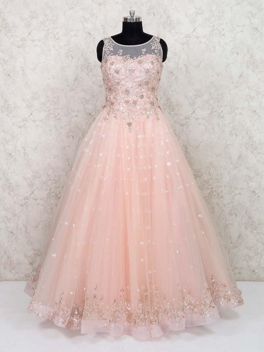 Prett Pink Net Party Gown