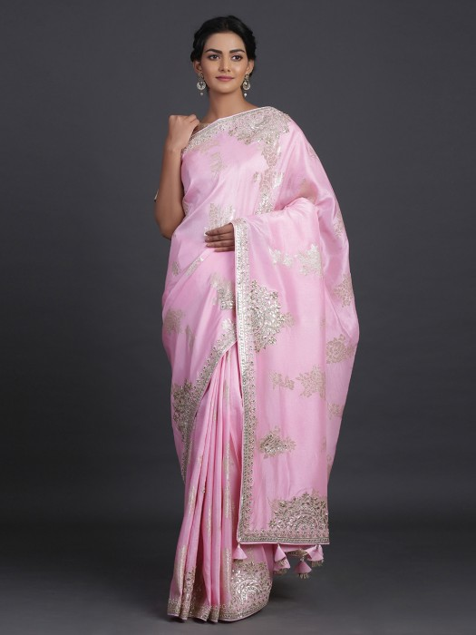 Pretty Baby Pink Saree In Silk