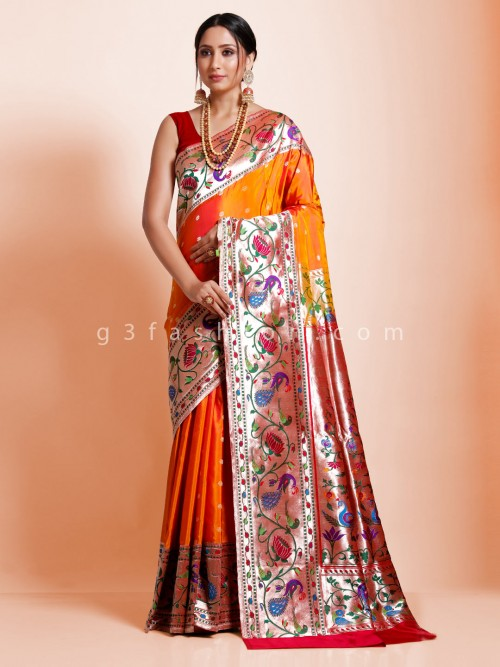Pretty Look Bridal Wear Orange Banarasi Paithani Silk Saree