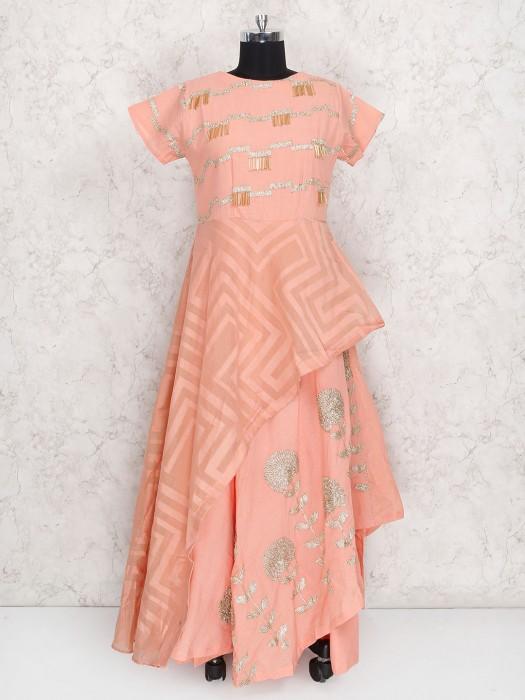 Pretty Peach Cotton Silk Party Wear Salwar Suit