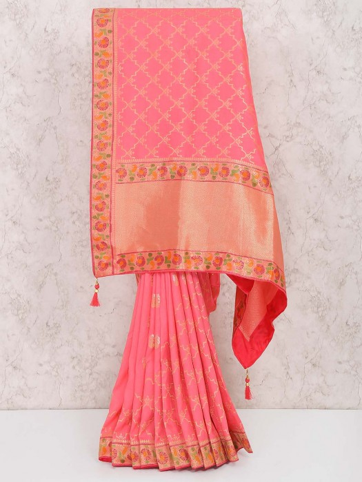 Pretty Peach Hued Muga Silk Saree