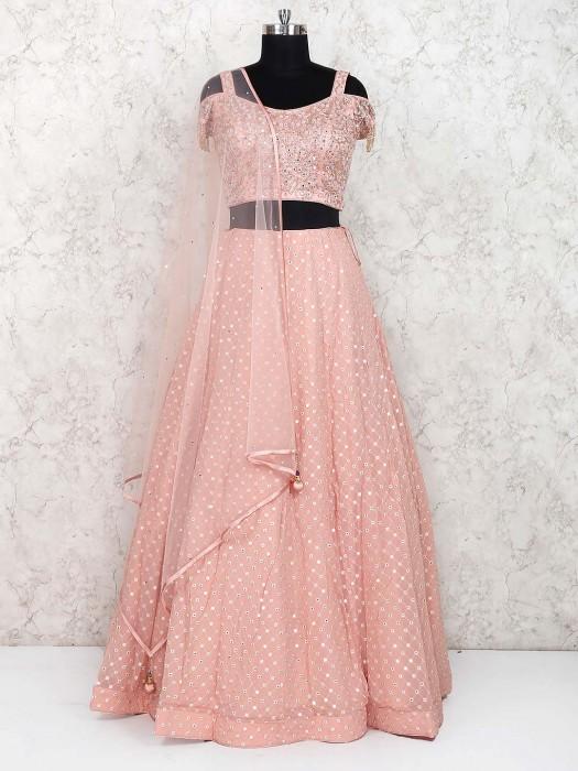 Pretty Peach Party Wear Georgette Lehenga Choli