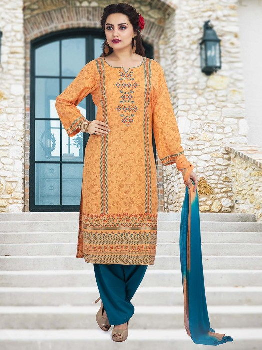 Pretty Peach Punjabi Salwar Suit In Cotton Fabric