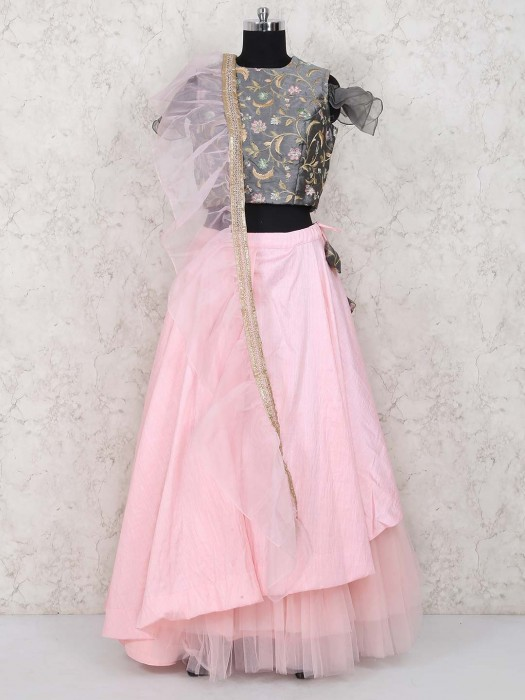Pretty Pink And Grey Hue Jute Silk Lehenga Choli