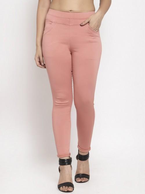 Pretty Pink Casual Wear Cotton Jeggings