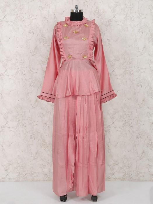 Pretty Pink Cotton Silk Lehenga Cum Salwar Suit