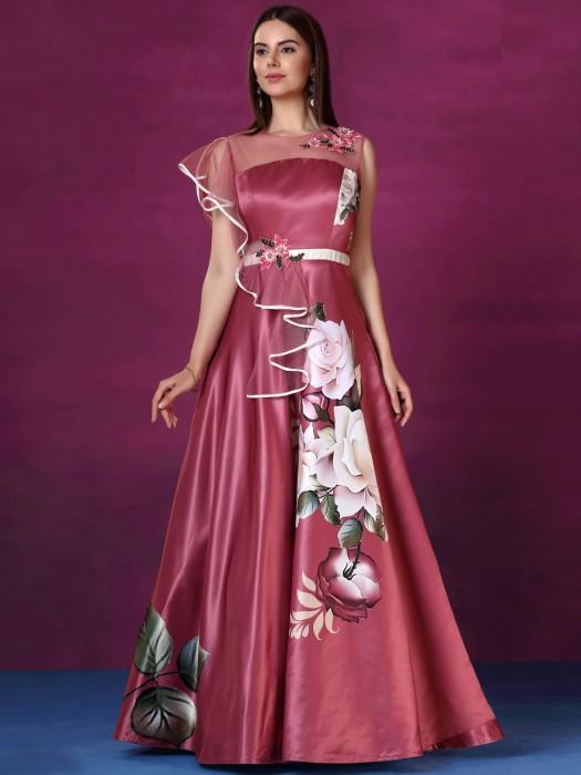 Pretty Pink Designer Silk Gown