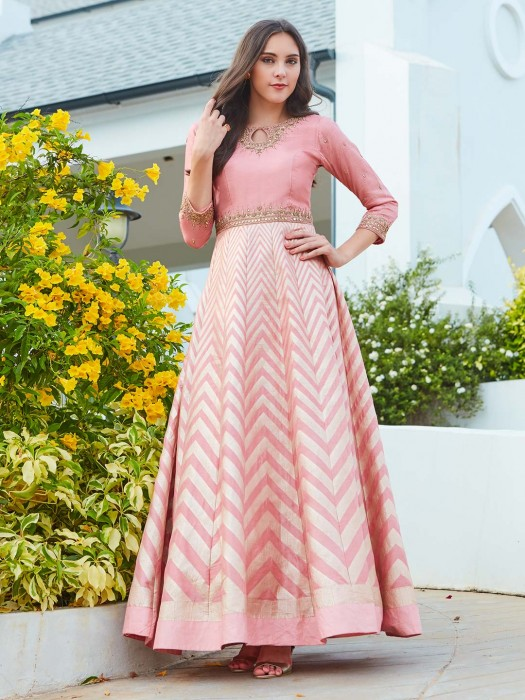 Pretty Pink Floor Length Anarkali Suit In Raw Silk