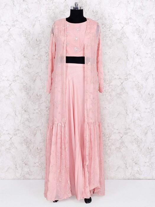 Pretty Pink Jacket Style Lehenga Choli In Chiffon