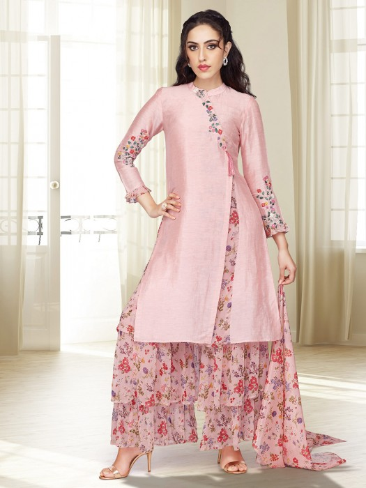 Pretty Pink Printed Punjabi Sharara Suit