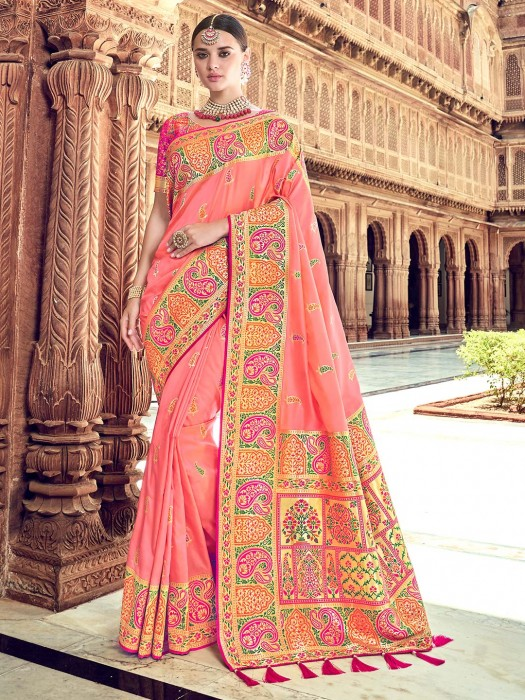 Pretty Pink Saree For Wedding Function In Silk
