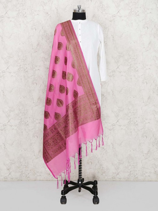 Pretty Pink Silk Fabric Dupatta