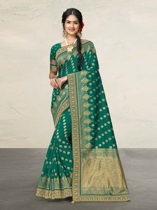 Pretty Rama Green Cotton Silk Sari
