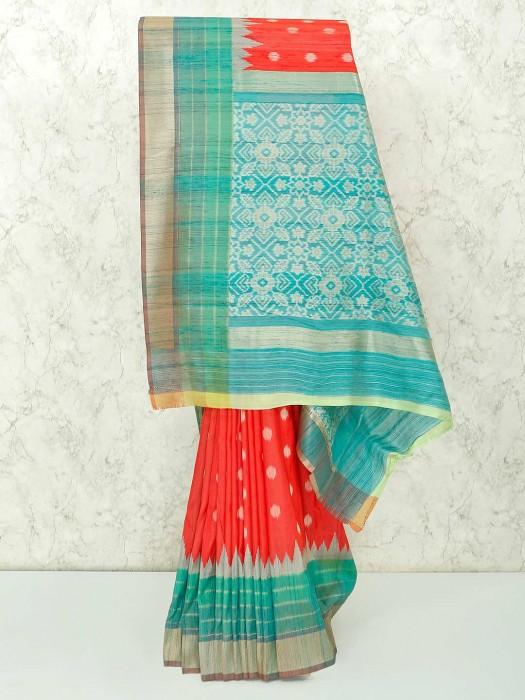 Pretty Red Semi Silk Saree