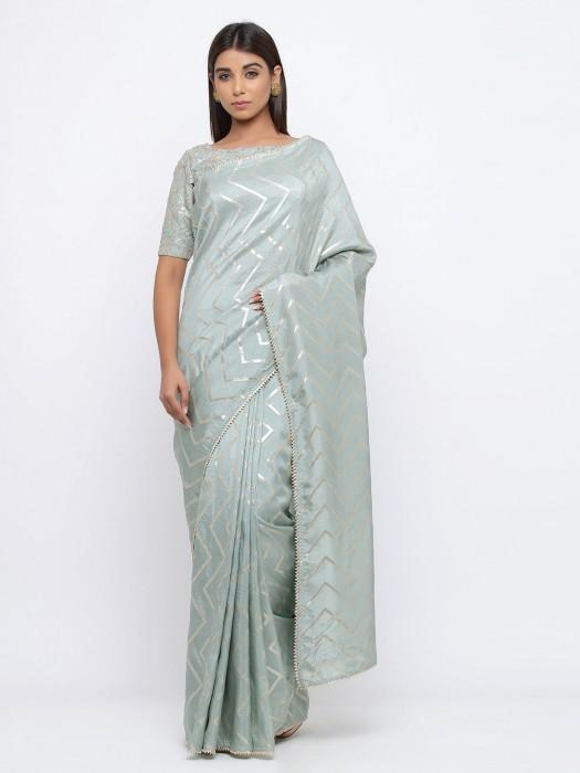 Pretty Sea Green Saree In Silk