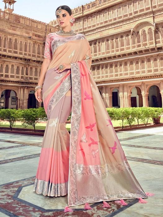 Pretty Silk Saree In Pink And Beige