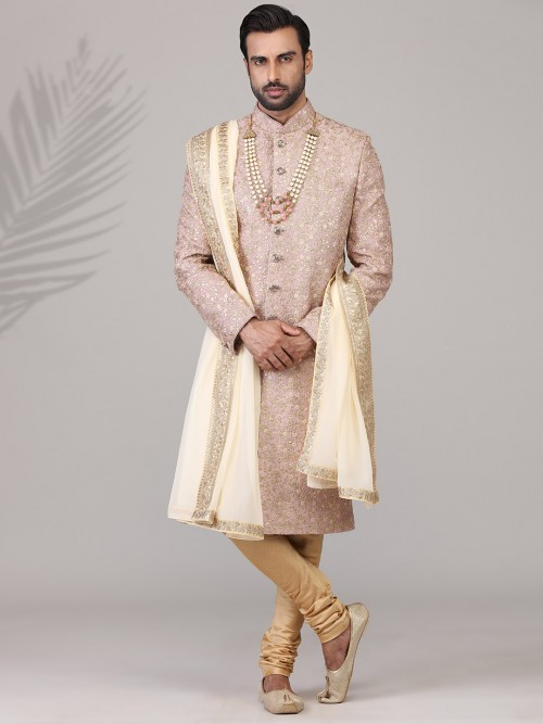 Princely Dusty Pink Raw Silk Sherwani