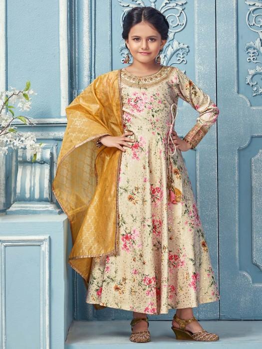 Printed Beige Color Cotton Silk Anarkali Suit