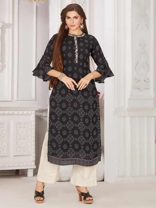 Printed Black Cotton Festive Wear Salwar Suit