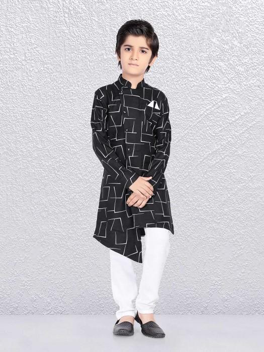 Printed Black Cotton Kurta Suit