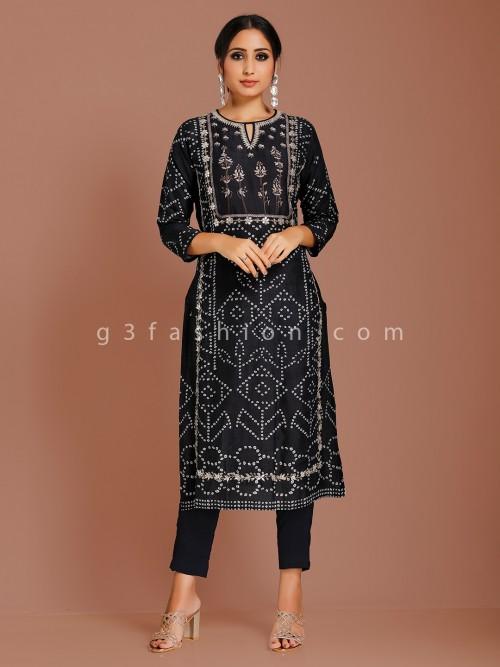 Printed Black Cotton Silk Punjabi Suit
