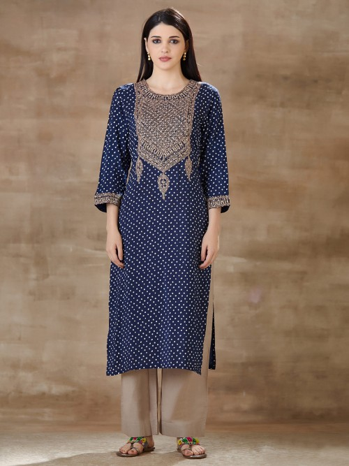 Printed Blue Pant Suit In Cotton